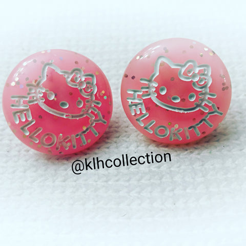 Pink Kitty Button Earrings - KLH Collection - 1