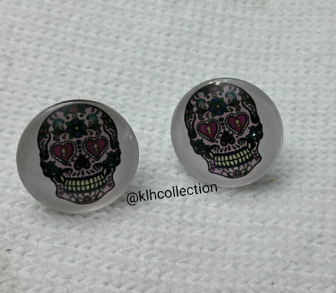 Skull Candy Button Earrings - KLH Collection - 1