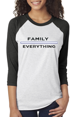 Family Over Everything: Tri-Blend 3/4 Raglan For Ladies