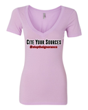 "Ladies' ""Cite Your Sources"" Deep V Neck Tee - KLH Collection"