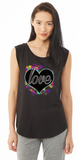 Colorful Heart Cap Sleeve Jersey Tee For Ladies - KLH Collection