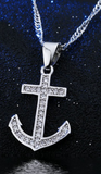 Sterling Silver Anchor Set: Earrings & Necklace
