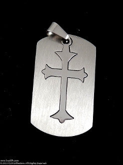 Stainless Steel Cross Dog Tag Necklace - KLH Collection