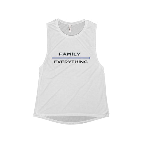 Family Over Everything: Flowy Scoop Muscle Tank For Ladies