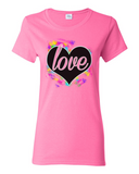 Colorful Heart Heavy Cotton Tee For Ladies - KLH Collection