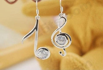 Silver Music Note Earrings - KLH Collection