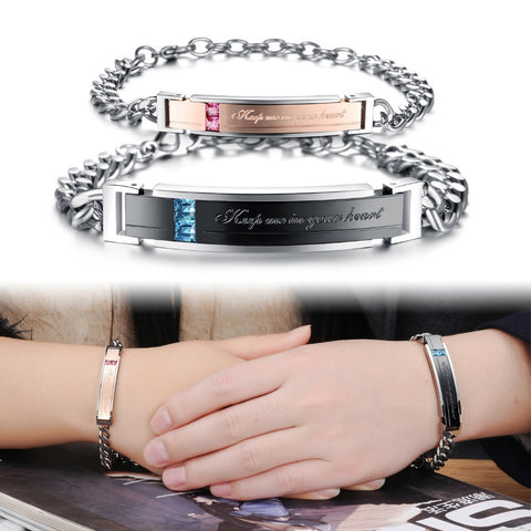 "Stainless Steel ""Keep Me In Your Heart"" Couples Bracelet - KLH Collection"