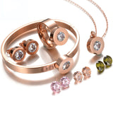 Stainless Steel Interchangeable Stone 4 PC Ring, Necklace, Earrings & Bracelet Set - KLH Collection