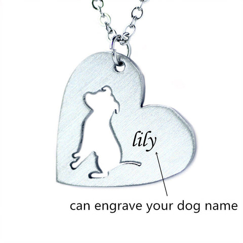 Stainless Steel Pitbull Cut-Out Necklace - KLH Collection