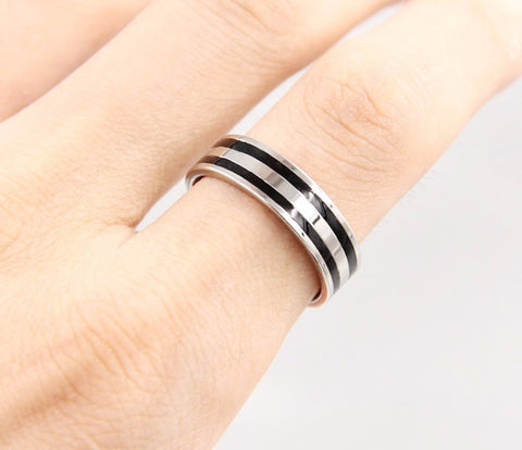 Stainless Steel Double Loop Ring For Ladies or Men - KLH Collection