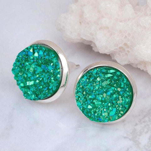 Druzy Dome Seals 16x14mm  Earrings - KLH Collection