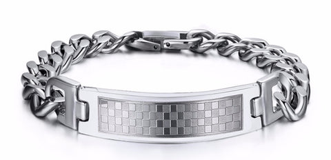 Stainless Steel Classic Grid Bracelet For Men - KLH Collection