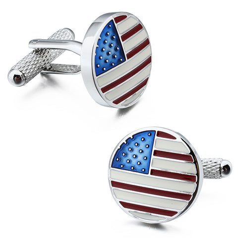 Round US Flag Cufflinks - KLH Collection