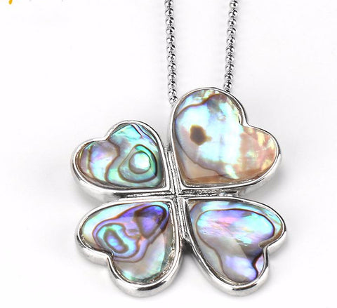 Abalone Four Leaf Clover Necklace