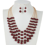 5 Layer Imitation Pearl Necklace & Earring Set