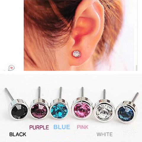 Round Crystal Stud Earrings - KLH Collection