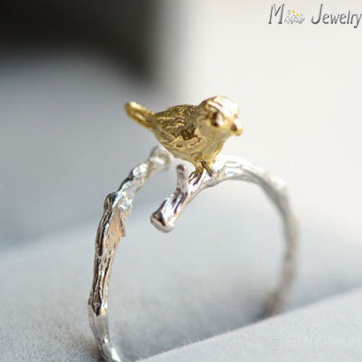 Sterling Silver Bird on a Branch Ring - KLH Collection