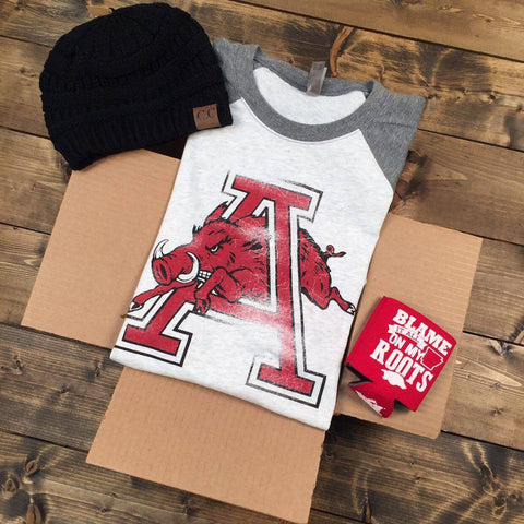Gameday Gift Box - Hog Jumping Through 'A' - 3/4 Sleeve