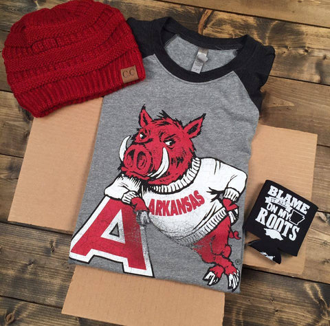 Gameday Gift  Box - Hog Leaning On 'A'- 3/4 Sleeve