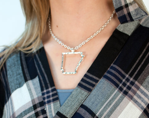 Sweet Home Arkansas Necklace - Silver Tone
