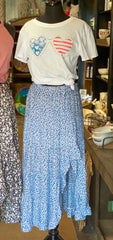 Days Away Floral Skirt - Blue