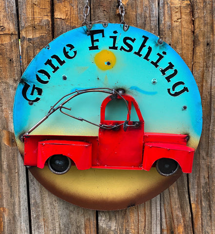 Gone fishing - Metal sign