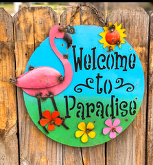 Welcome to Paradise - metal sign