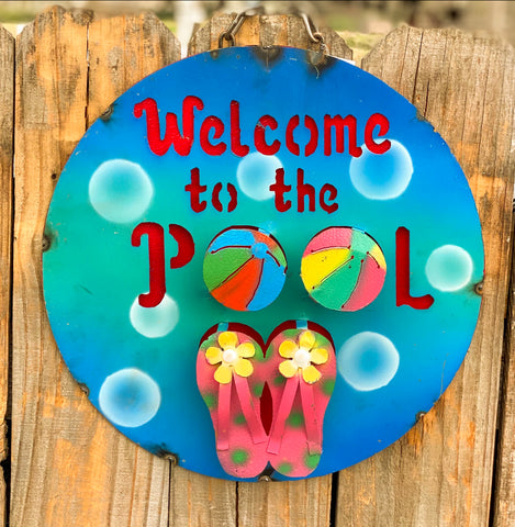 Welcome to the Pool! - Metal sign