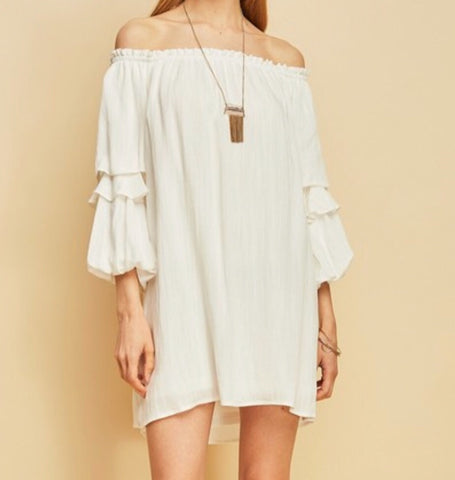 Something To Talk About White Off The Shoulder Dress