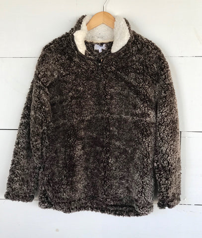Fuzzy Pullover Fleece - Two Toned Brown