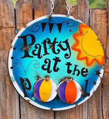 Party at the Pool - Metal Sign
