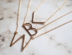 Gold Plated Initial Letter Pendant Necklace custom