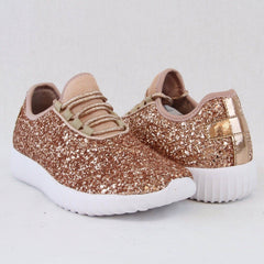 Kids Glitter Shoes - Rose Gold