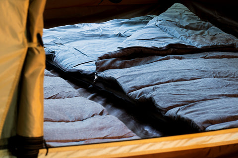 Side by side sleeping bags for full set view