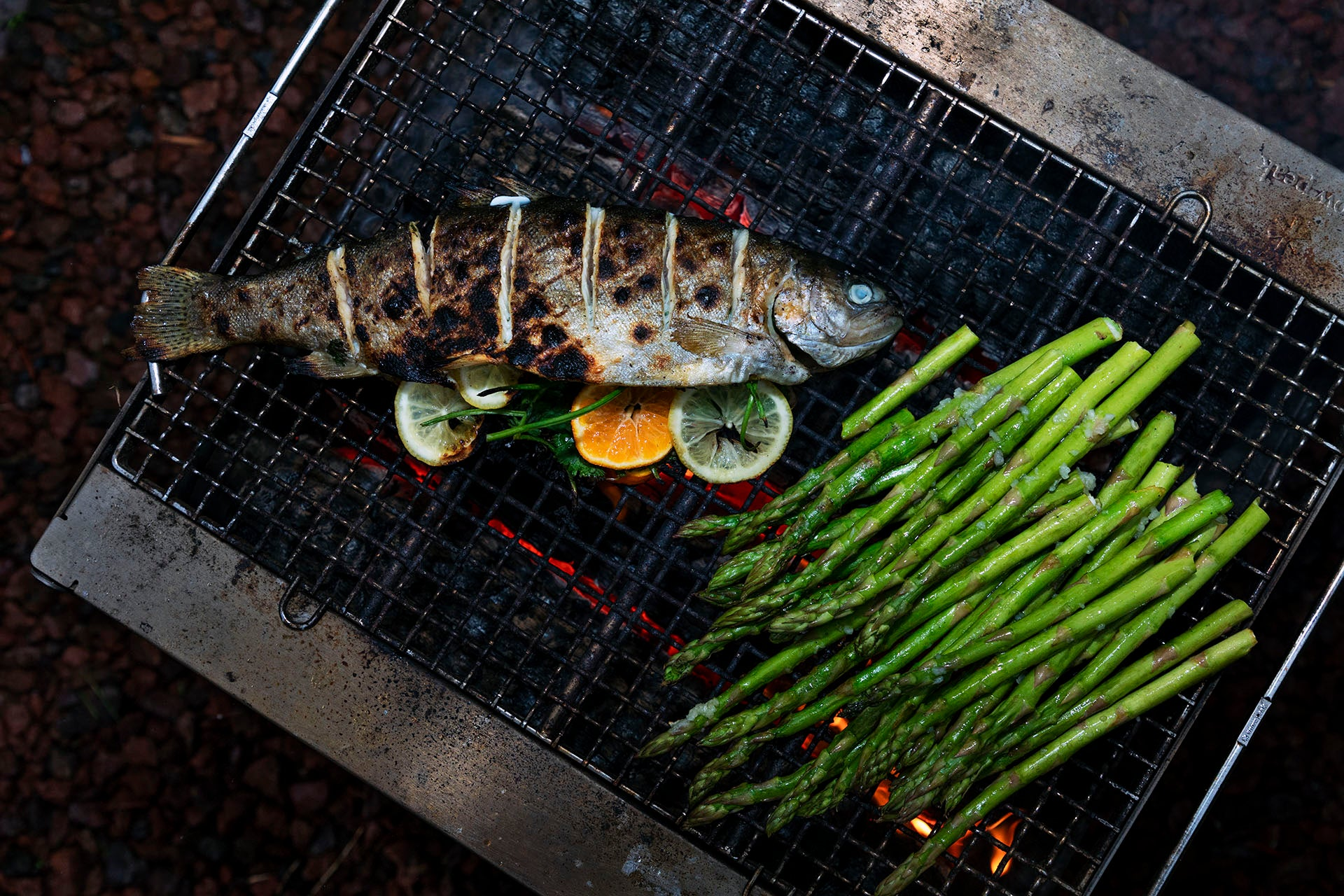 Grill both sides of the trout for 3-4 minutes