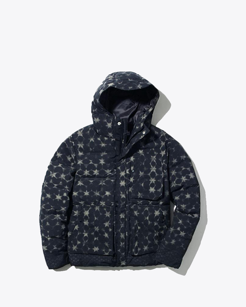 Indigo Down Jacket Wind Print