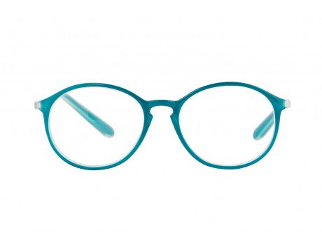 PAULINE transparent dark petrol reading glasses.