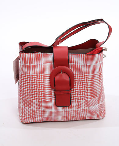 Red fashion check bag