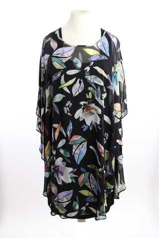 Q'nell black flower print dress