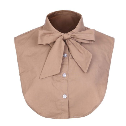 Sand bow mock collar