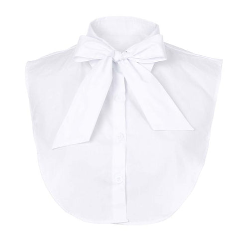 White bow mock-collar
