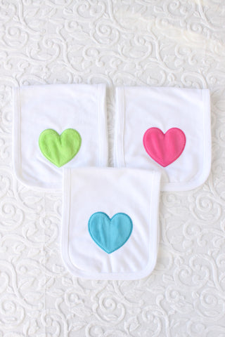 Fuzzy Heart Burp Cloth Set