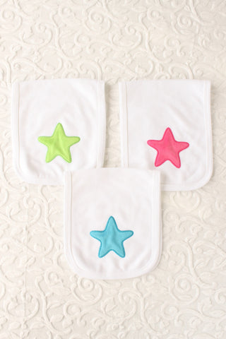 Fuzzy Star Burp Cloth Set