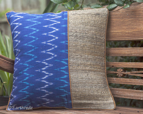 BANANA FIBER & IKAT CUSHION COVER  TRAMA