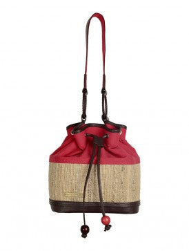 BANANA FIBER & CANVAS BALI BUCKET BAG  KANAT