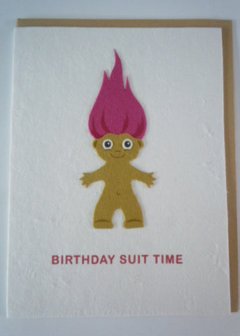 Birthday Suit Troll Greeting Card