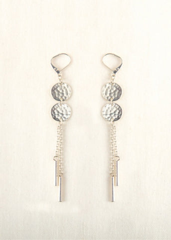 Double Disc Earrings- Silver