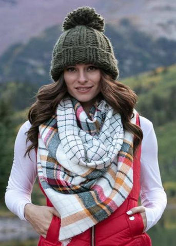 Reversible Button Scarf/Poncho- Ivory Plaid