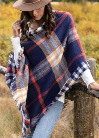 Reversible Button Scarf/Poncho- Blue Plaid