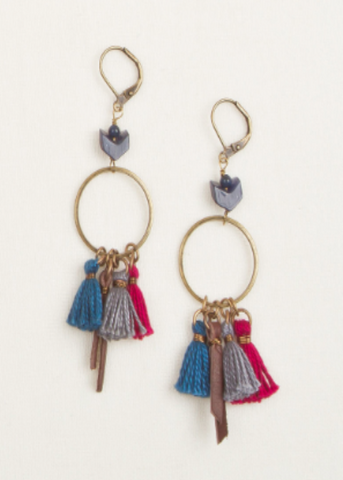Tassel & Leather Hoop Earrings